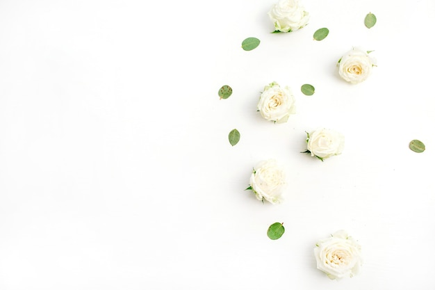 White rose flower buds on white background. fat lay