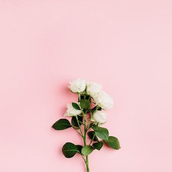 白いバラの花の枝フラットレイ構成