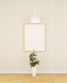 White rose and frame for artwork in gallery - 3d rendering