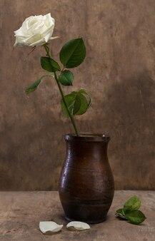 나무 배경에 꽃병에 흰 장미