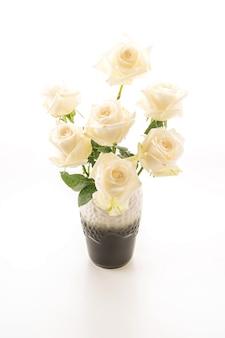 Белая роза на белом