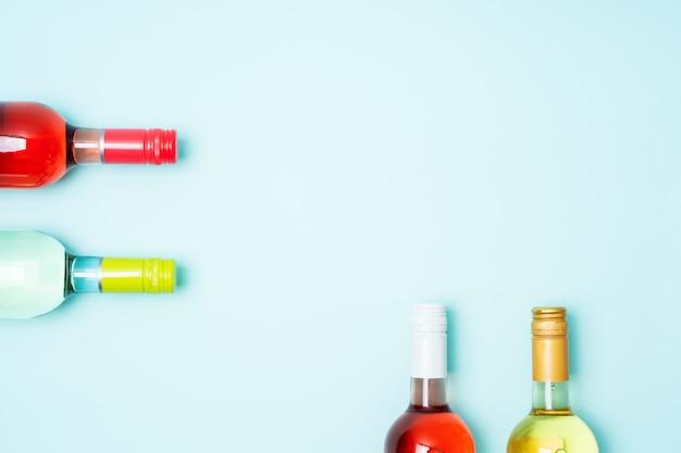 White and rose wine bottles