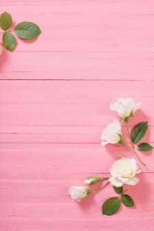ピンクの木製の背景に白いバラ