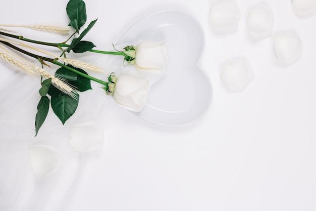 White roses petals
