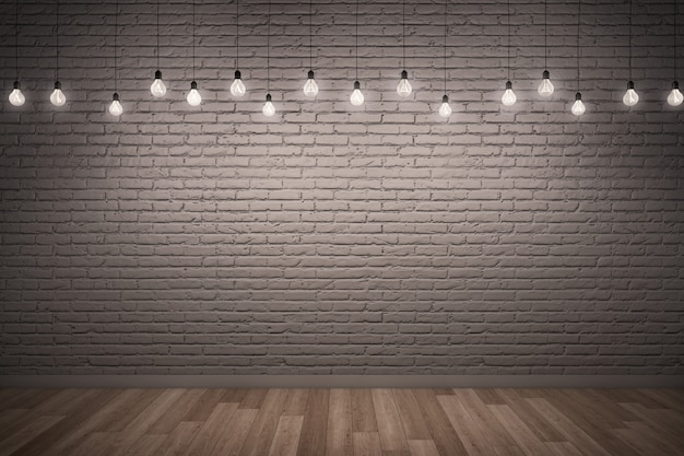 White rough brick wall  wooden floor with lighting