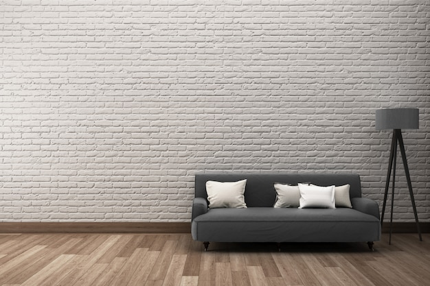 White rough brick wall  wooden floor with sofa