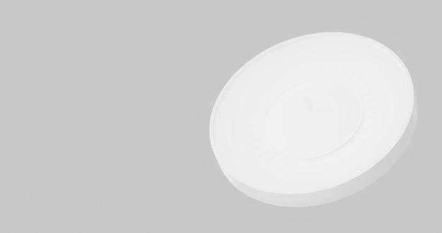 White roulette 3d illustration, on grey background.