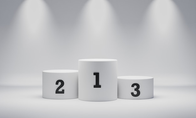 White round cylinder winner podium on spotlight background with number place