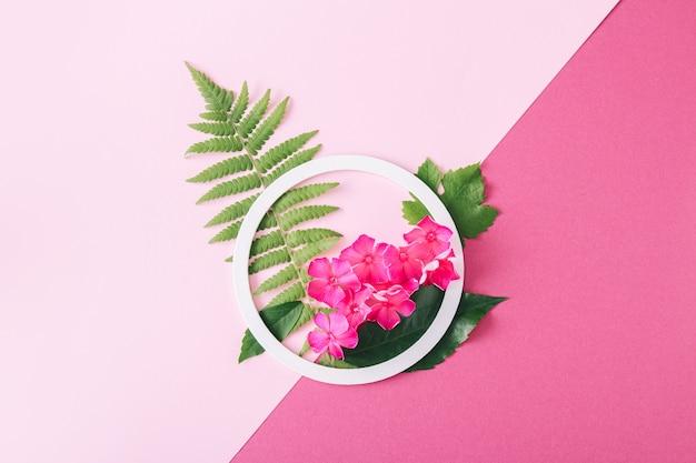 Белая круглая рамка с розовыми цветами и зелеными листьями на розовом фоне. плоская планировка. минималистичная летне-весенняя композиция.