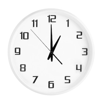 White round office clock showing one o'clock isolated on white. blank white clock showing 1 pm or 1 am time