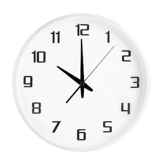 White round office clock showing ten o'clock isolated on white. blank white clock showing 10 pm or 10 am time
