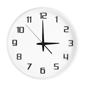 White round office clock showing three o'clock isolated on white. blank white clock showing 3 pm or 3 am time