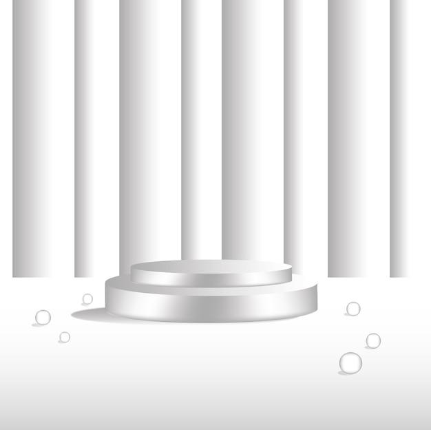 흰색 원형 받침대 검정 금요일 판매 배너 템플릿 디자인, 연단 위의 밝은 스포트라이트가 회색 벽돌 배경 위에 있습니다.