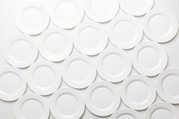 White round plates, top view