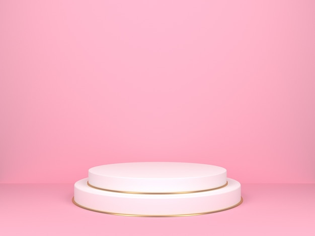 White round stage on pink background. backdrop for product display. 3d rendering