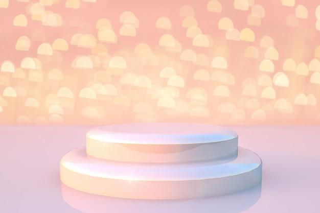 光と金色のキラキラライトの背景を持つ白いラウンドステージ表彰台