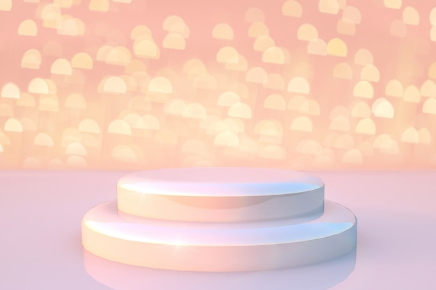White round stage podium with light and golden glitter lights background