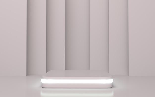 Белый прямоугольник с закругленными углами на подиуме