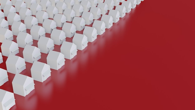 Белые рядные дома с красным полом