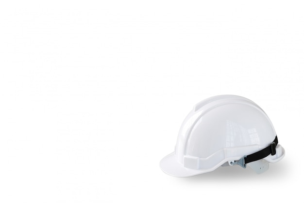 White safety helmet hat for worker and engineer isolated and white
