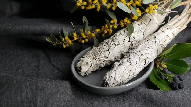 White sage smudge stick for aromatherapy. essential incense for smudging.