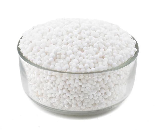 White sago pearls on white background