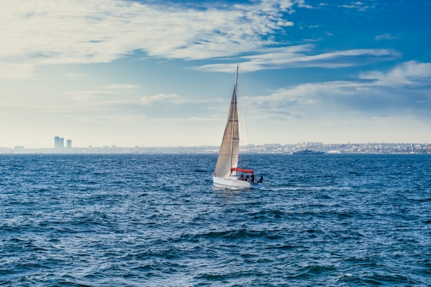 White sailboat in the sea, luxury adventure, active vacation in sea, istanbul, turkey