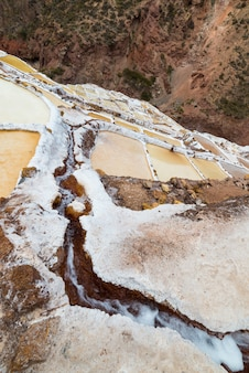 White salt basins on the peruvian andes
