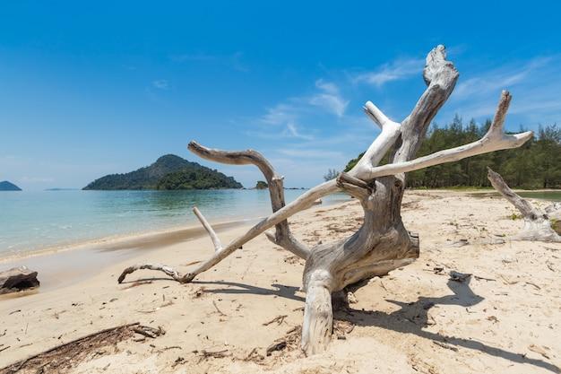 White sand beach and long-tail boat at kham-tok island (koh-kam-tok),