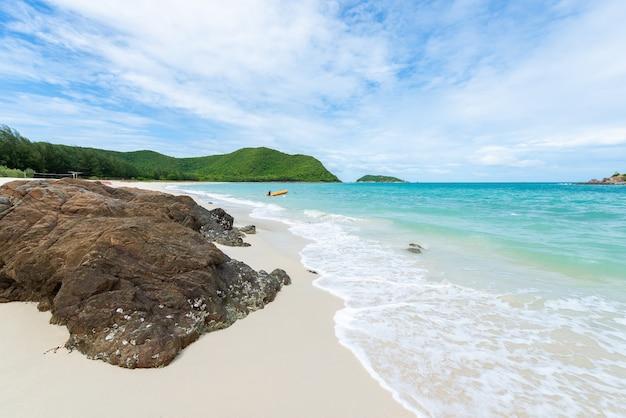 White sand beach with blue sea on koh samaesarn.