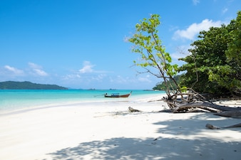 White sand coast and longtail wooden boat at andaman sea