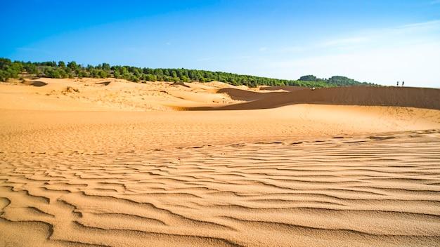白い砂丘、ムイネー、ベトナム。青い空と砂漠地帯の美しい風景。