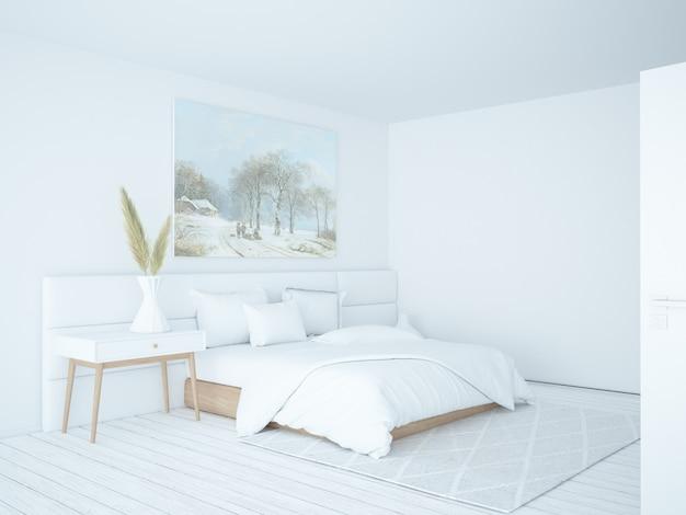 白いスカンジナビアの寝室のインテリア