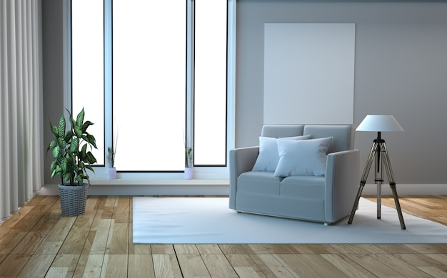White scandinavian style wooden floor and white wall background. 3d rendering