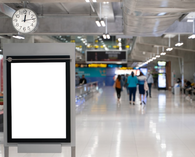 White screen blank mock up of street poster billboard on airport.