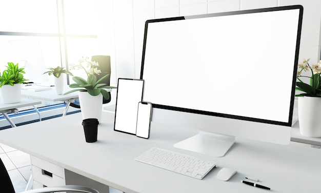 White screen devices mockup