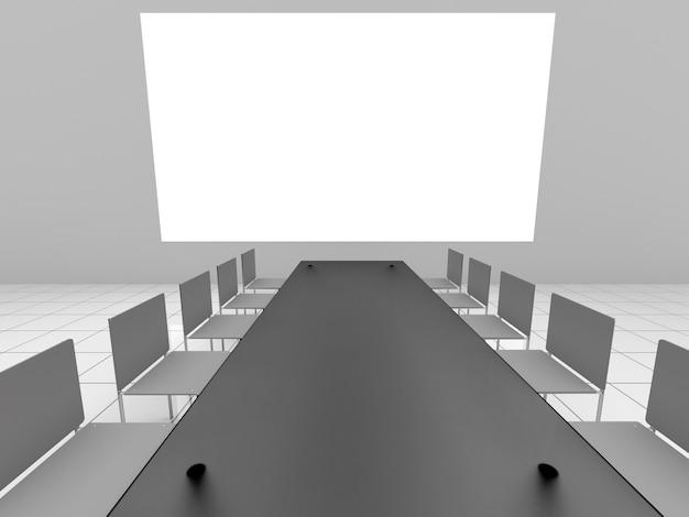 会議ホールでのプレゼンテーション用の白い画面