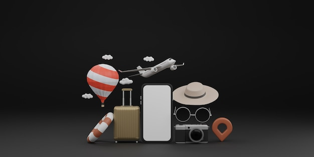 White screen mobile mockup with airplane, balloon, swimming rubber ring, luggage, sunglasses, hat and camera