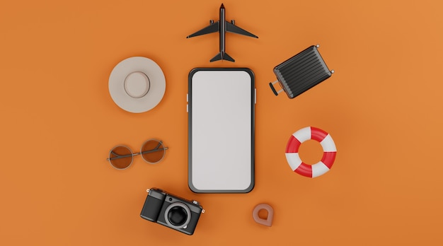White screen mobile mockup with airplane, inflatable swimming rings, camera, luggage, hat and sunglasses