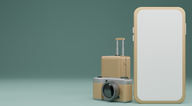 White screen mobile mockup with camera and luggage over pastel blue background travel concept. 3d rendering