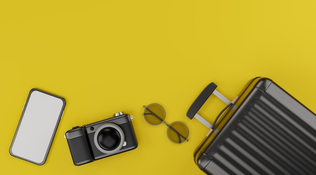 White screen mobile mockup with camera, luggage, and sunglasses over yellow background travel concept. 3d rendering