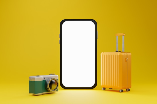 White screen mobile mockup with camera and luggage over yellow background travel concept. 3d rendering