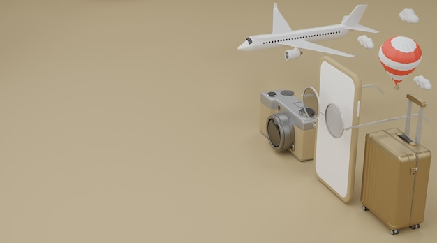 White screen mobile with airplane, balloon, swimming rubber ring, luggage, sunglasses, hat and camera