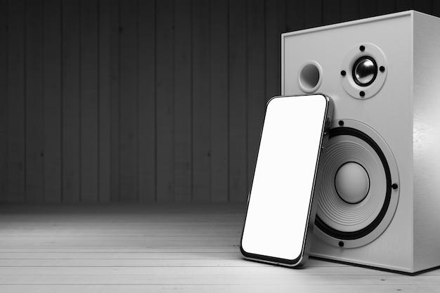 Белый экран смартфона для вашего дизайна музыкального 3d рендеринга