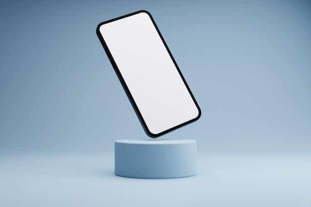 흰색 화면 전화 제품 현대 개념