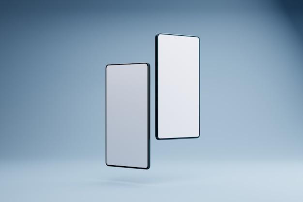 白い画面の電話製品のモダンなコンセプト