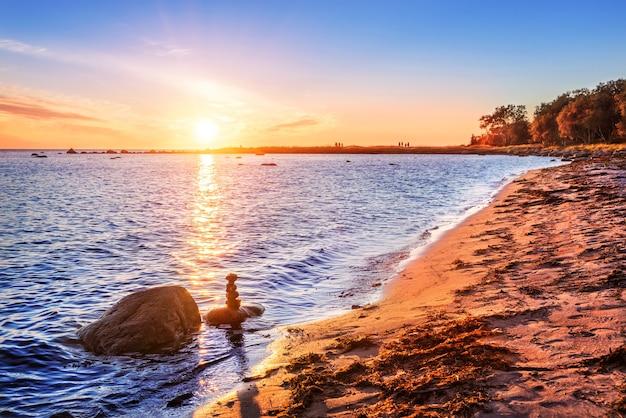 ソロヴェツキー諸島の白海、夕日と海岸の砂の上に藻類と石