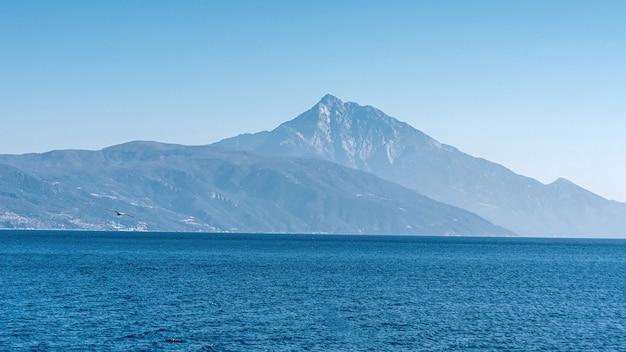 Белая чайка летит в голубом солнечном небе над побережьем моря
