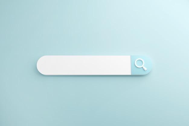 空白の検索バーに白い検索または虫眼鏡