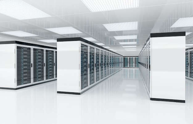 Белая комната центра серверов с компьютерами и системами хранения 3d-рендеринга